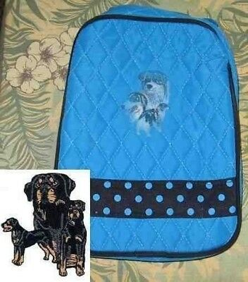 Q lunch ROTTWEILER Quilted TURQUOISE Insulated Fabric Lunch Sack Tote Bag