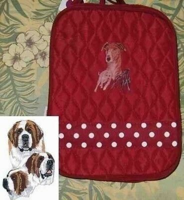 Q lunch SAINT BERNARD Quilted BURGUNDY Insulated Fabric Lunch Sack Tote Bag