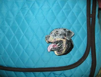 Q purse ROTTWEILER Quilted Turquoise Microfiber Fabric Purse Messenger/Tablet