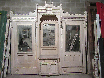 Antique Carved Walnut Closet Front~ Built In Armoire ~ 112 X 106 ~ Salvage