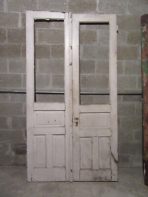 ~ ANTIQUE OAK DOUBLE ENTRANCE FRENCH DOORS  ~ 48 x 88 ~  ARCHITECTURAL SALVAGE