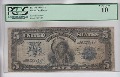 Silver Certificate $5 1899 Indian Chief  PCGS Graded  vg 10