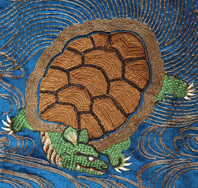 1920s Japanese Textile Hand Embroidered Silk Fukusa cloth w/ Tortoise Turtle