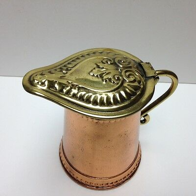 """Antique Copper And Brass Flip Lidded Syrup Pot Pitcher Decorative 5"""" Tall"""