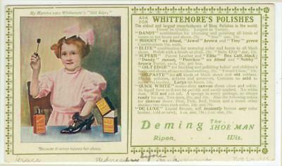 c1915 Ripon Wisconsin The Deming Shoe Man ad blotter Whittemore's Polishes