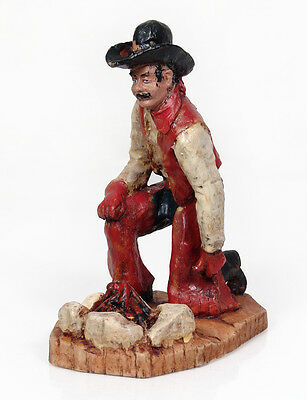 Vintage Western Cowboy Cast Resin Statue Sculpture Figurine By Curtis