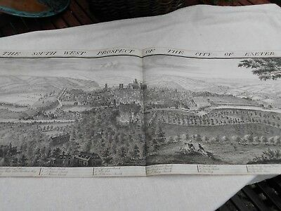 BUCK ANTIQUE MAP c1730 SOUTH WEST PROSPECT OF THE CITY EXETER ~ LARGE UNCOLOURED
