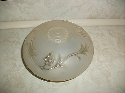Vintage Art Deco Frosted Glass Embossed Grape Ceiling Light Fixture Shade Globe
