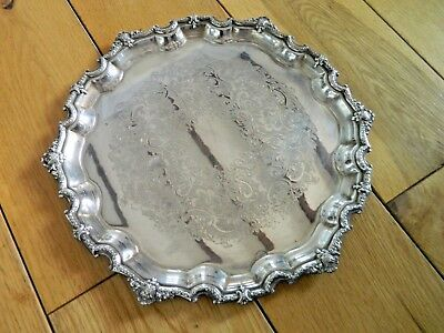 """Small Heavy Vintage Silver on Copper Silver Plated Decorative Tray 11"""" across"""