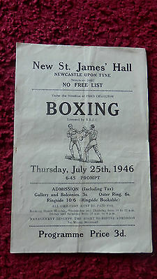 Boxing Programme - Billy Thompson V Harry Hughes -St.james Hall-Newcastle-1946