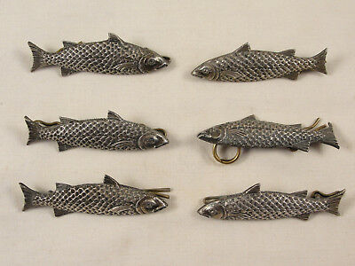 Set 6 Antique Silver Plated Novelty SALMON BUTTONS / CLASPS c1920
