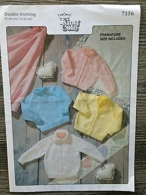 """King Cole Knitting Pattern: Baby Sweaters & Cardigans, DK, 14-22"""", 7156"""
