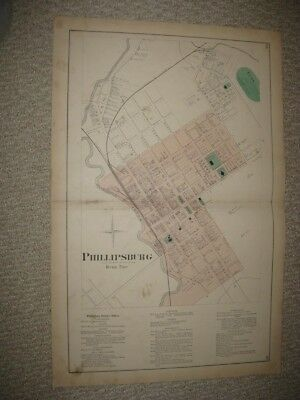 Antique 1874 Phillipsburg Centre County Pennsylvania Handcolored Map Superb Nr
