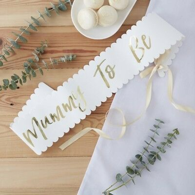 Baby Shower Mummy to Be Sash - Classy White & Gold Foiled - Oh Baby Ginger Ray
