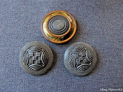 3 Antique Art Deco Large Tin Buttons  One With Celluloid Rim