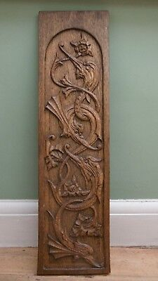 SUPERB 19thc GOTHIC OAK PANEL WITH RELIEF CARVED GARGOYLES (1)