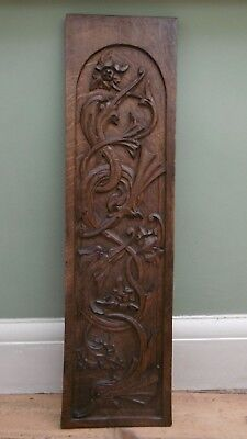 SUPERB 19thc GOTHIC OAK PANEL WITH RELIEF CARVED GARGOYLES (2)