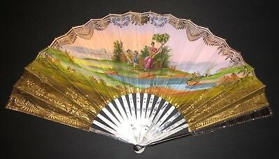 Fine Antique French Mother Of Pearl Cut Steel Figural Scene Empire Fan