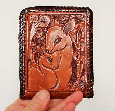 Rare Vintage Hand Tooled Leather Wallet - Bambi Themed