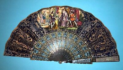 Fine Antique Victorian French Carved Wooden Mother Of Pearl Figural Scene Fan
