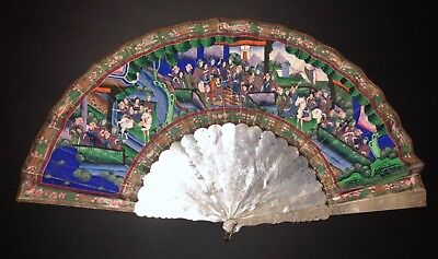 Fine Antique Chinese Hand Carved Mother Of Pearl Painted Court Scene Silk Fan