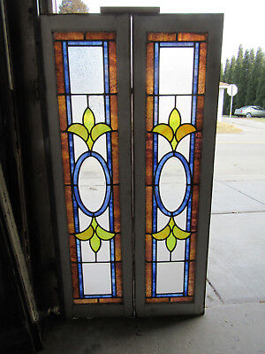PAIR ANTIQUE STAINED GLASS TRANSOMS SIDELITES WINDOWS BEVELS 54 x 14 SALVAGE ~