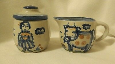 M A Hadley Pottery Cow & Milkmaid Cream And Sugar Set