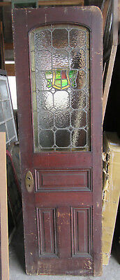 ~ ANTIQUE AMERICAN STAINED GLASS DOOR ~ 25 x 82 ~ ARCHITECTURAL SALVAGE ~