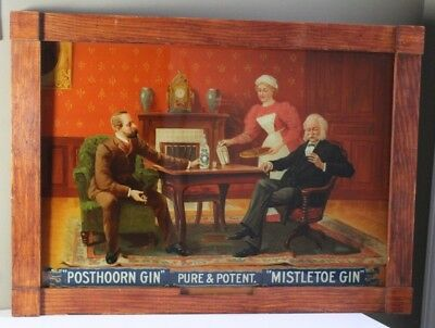 Antique Early 20thC Posthoorn Gin Reverse on Glass Liquor Advertising Sign