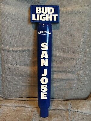 BUD LIGHT 13 inch Authentic Blue BEER Tap Handle Bar SAN JOSE, CA EXCLUSIVE RARE