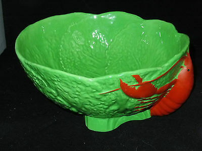 MALING BOWL RARE HAND PAINTED LGE LOBSTER on CABBAGE LEAF PERFECT EXAMPLE