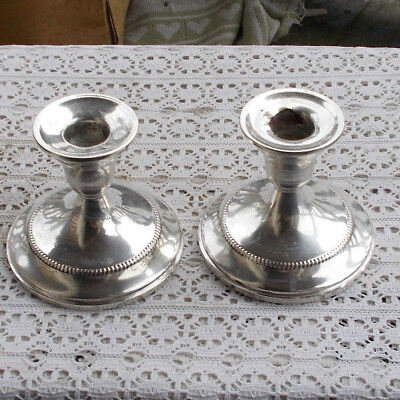 "RARE Vintage 3.5"" Sterling Silver Pair SET Candlesticks Candle Holders LOOK NR"