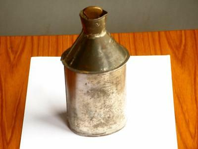 Rare Antique Metal Medical Flask Top Marked Po Brass Stopper Unusual Poison ?