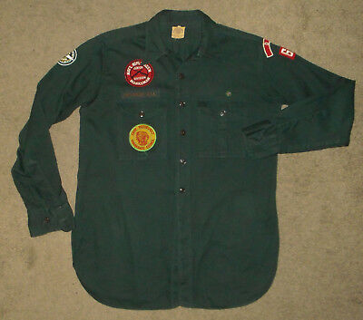 BOY SCOUTS Of America EXPLORERS Uniform Shirt Vtg #66 GREEN Cotton USA Mens S/M