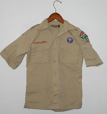 BOY SCOUTS Of America UNIFORM Shirt #52 KHAKI Scout w Patches Boys YOUTH Md