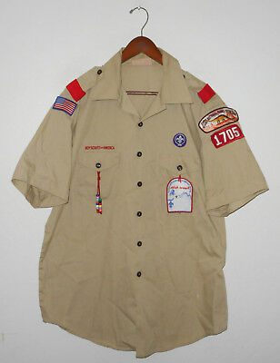 BOY SCOUTS Of America UNIFORM Shirt #1705 Scout w Patches Adult USA Mens XL