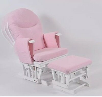 Habebe Recliner Rocking Glider Chair & Stool WASHABLE pink or cream cushions