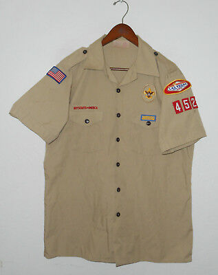 BOY SCOUTS Of America UNIFORM Shirt #452 Scout w Patches Adult USA Mens : LG