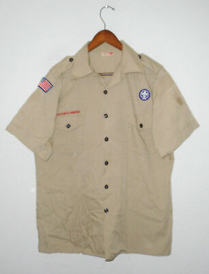 BOY SCOUTS Of America UNIFORM Shirt KHAKI Scout w Patches Adult USA Mens : LG
