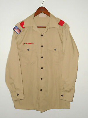 BOY SCOUTS Of America UNIFORM Shirt LONG SLEEVE Khaki Scout Adult USA Mens MD