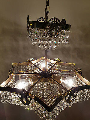 Antique Star Shape Brass & Crystals Chandelier from 1950's RARE !