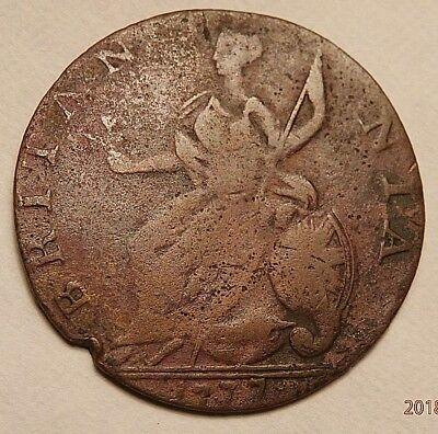 1777  Evasion  Non Regal Halfpenny Very Thin And Very Underweight Rare C932
