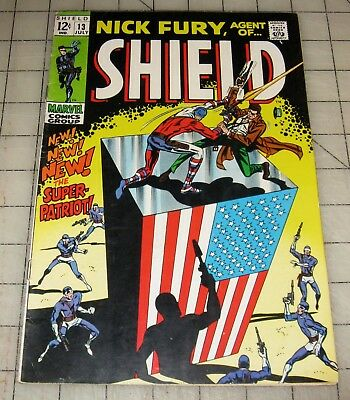 NICK FURY, Agent of Shield #13 (July 1969) VG+ Condition Comic SUPER PATRIOT App