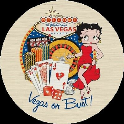 Betty Boop Vegas or Bust Drink Coasters Polyester Top Rubber Bottom Set of 4