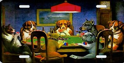 Dogs Playing Poker Auto Vanity Aluminum Metal License Plate Sign New Made in USA