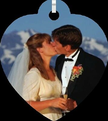 Personalized Custom Double Sided Color Photo Heart Shaped Love Wedding Necklace