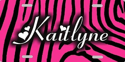 Personalized Custom Hot Pink & Black Zebra Stripe Stripes License Plate COOL!