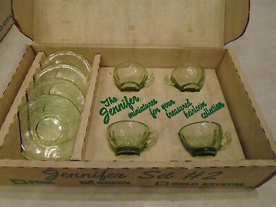 Green Glass Mosser Set In Original Box Jennifer 4 Cups 4 Saucers Set #2