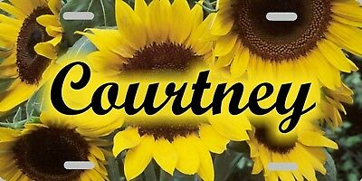 Personalized Custom Sunflower Sunflowers License Plate Name Initials Phrase etc.