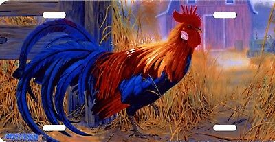 Rooster Barn Farm Country Chicken Art Color Vanity License Plate Aluminum NEW